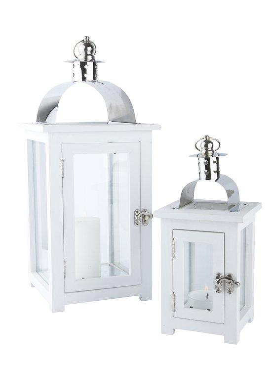 kj collection laternen 2er set holz stahl glas wei 44 x 19 x 19cm kaufen. Black Bedroom Furniture Sets. Home Design Ideas