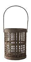 KJ Collection Windlicht Laterne Hurricane  Bambus/Glas natur 40 x 18cm