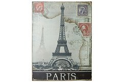 KJ Collection Metallschild Paris 35 x 26cm