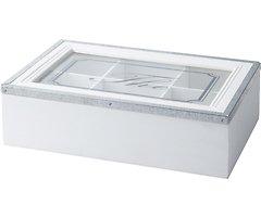 KJ Collection Aufbewahrungsbox Holz/Metall weiß 7 x 16 x 24cm