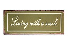 KJ Collection Metallschild Living With A Smile 39 x 15cm