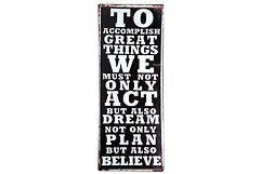 KJ Collection Metallschild Act Dream Plan Believe 19 x 48cm
