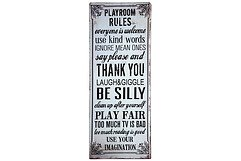 KJ Collection Metallschild Playroom Rules 19 x 48cm
