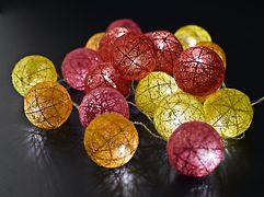 Sirius Lichterkette Bolette 20 LED 2,85m Baumwollkugeln rot/gelb