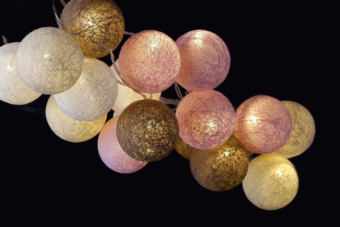 Sirius Lichterkette Bolette 20 LED 2,85 m Baumwollkugeln delicate blush - Pic 1