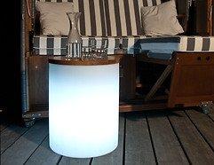 8Seasons Leuchthocker Shining Drum 45 x 37cm weiß außen