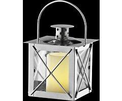 Sirius Laterne Petra mit LED Echtwachskerze 2er Set Metall silber