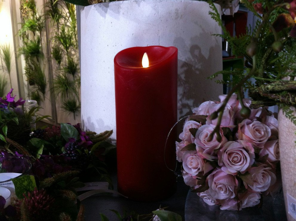 Luminara LED Kerze Echtwachs D 10 x H 13 cm bordeaux rot - Pic 3