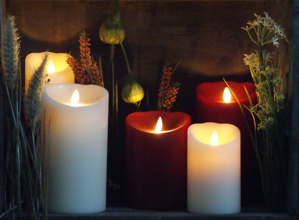 Luminara LED Kerze Echtwachs D 10 x H 13 cm bordeaux rot - Pic 5