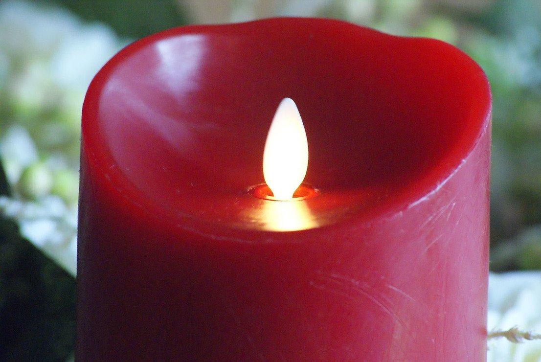 Luminara LED Kerze Echtwachs D 10 x H 13 cm bordeaux rot - Pic 4