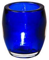 Dekotop Teelicht Glas inkl. LED Teelicht marineblau innen / außen