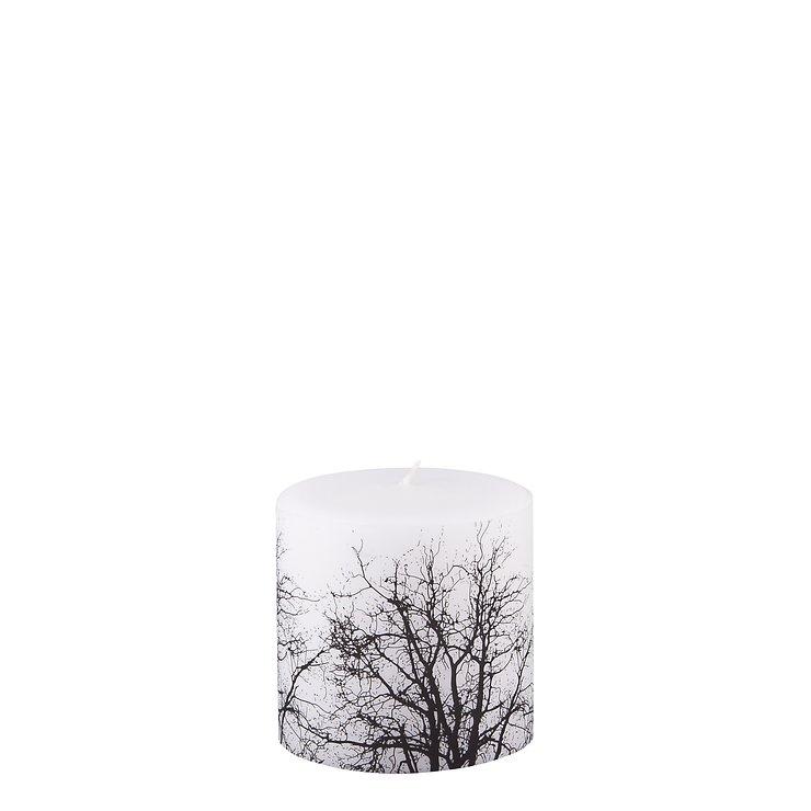 Broste Stumpenkerze Baumkrone weiß/schwarz 10 x 10cm - Pic 1