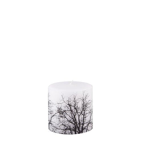 Broste Stumpenkerze Baumkrone weiß/schwarz 10 x 10cm