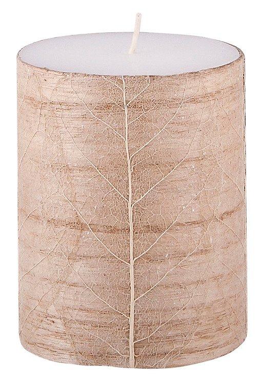 Broste Stumpenkerze weiß Blattdekor aus Holz 10cm - Pic 1