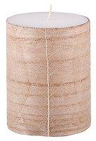 Broste Stumpenkerze weiß Blattdekor aus Holz 10cm