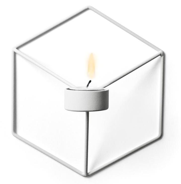 Menu POV Wandteelichthalter 3D Cube Stahl weiß - Pic 1