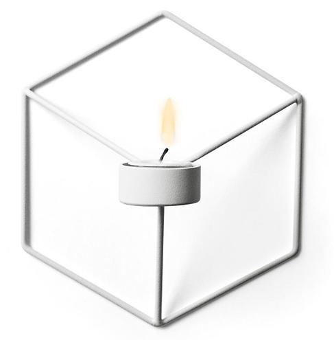 Menu POV Wandteelichthalter 3D Cube Stahl weiß