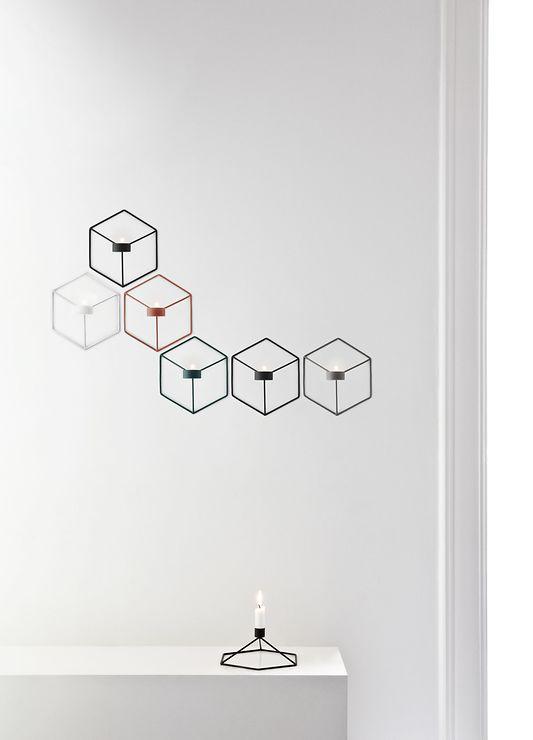 Menu POV Wandteelichthalter 3D Cube Stahl weiß - Pic 3