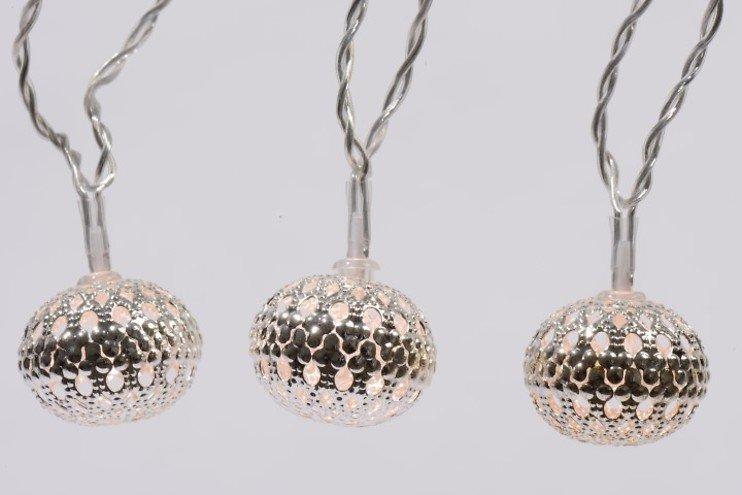 Kaemingk Lichterkette Kugel 30 LED Metall Silber Innen 6m