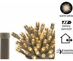 Kaemingk Lichterkette Ricelight 192 LED Batterie Blinkfunktion außen 14m transparent