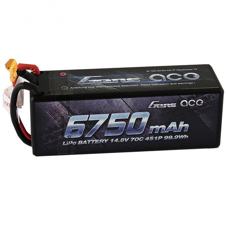 GensAce Batterie LiPo Akku 6750mAh 14.8V 70C 4S1P HardCase 14 - Pic 1