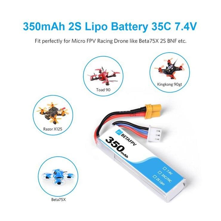 BETAFPV Batterie Lipo Akku 350mAh 2S Set mit 2 Stück - Pic 3