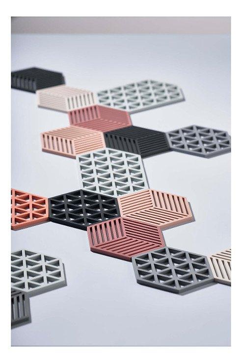 Zone Topfuntersetzer Hexagon Streifen 16 x 14 cm Silikon rot - Pic 2