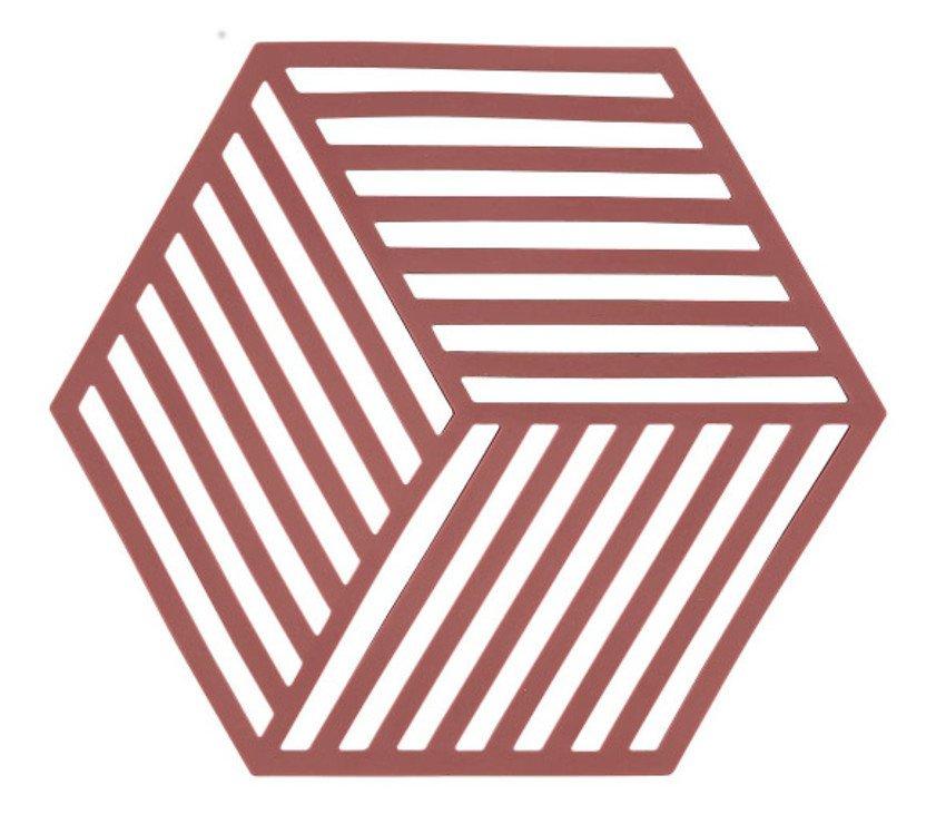 Zone Topfuntersetzer Hexagon Streifen 16 x 14 cm Silikon rot - Pic 1