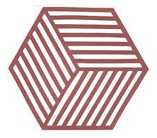 Zone Topfuntersetzer Hexagon Streifen 16 x 14 cm Silikon rot
