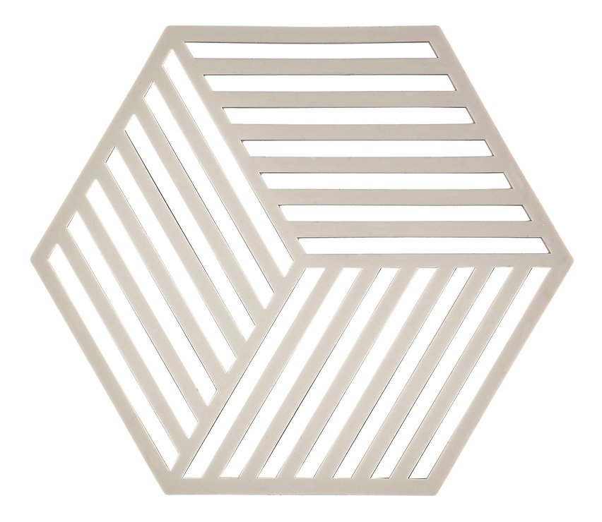 Zone Topfuntersetzer Hexagon Streifen 16 x 14 cm Silikon hellgrau - Pic 1