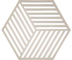 Zone Topfuntersetzer Hexagon Streifen 16 x 14 cm Silikon hellgrau
