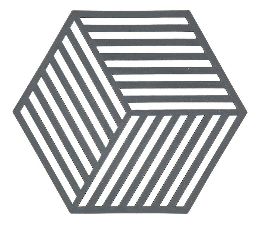 Zone Topfuntersetzer Hexagon Streifen 16 x 14 cm Silikon grau - Pic 1