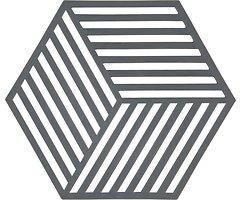 Zone Topfuntersetzer Hexagon Streifen 16 x 14 cm Silikon grau