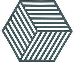 Zone Topfuntersetzer Hexagon Streifen 16 x 14 cm Silikon grün