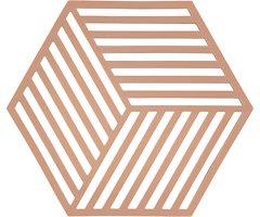 Zone Topfuntersetzer Hexagon Streifen 16 x 14 cm Silikon nude