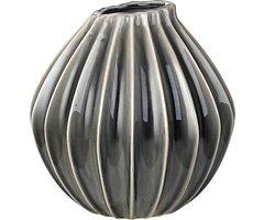 Broste Vase Wide Keramik dunkelgrau 25 cm