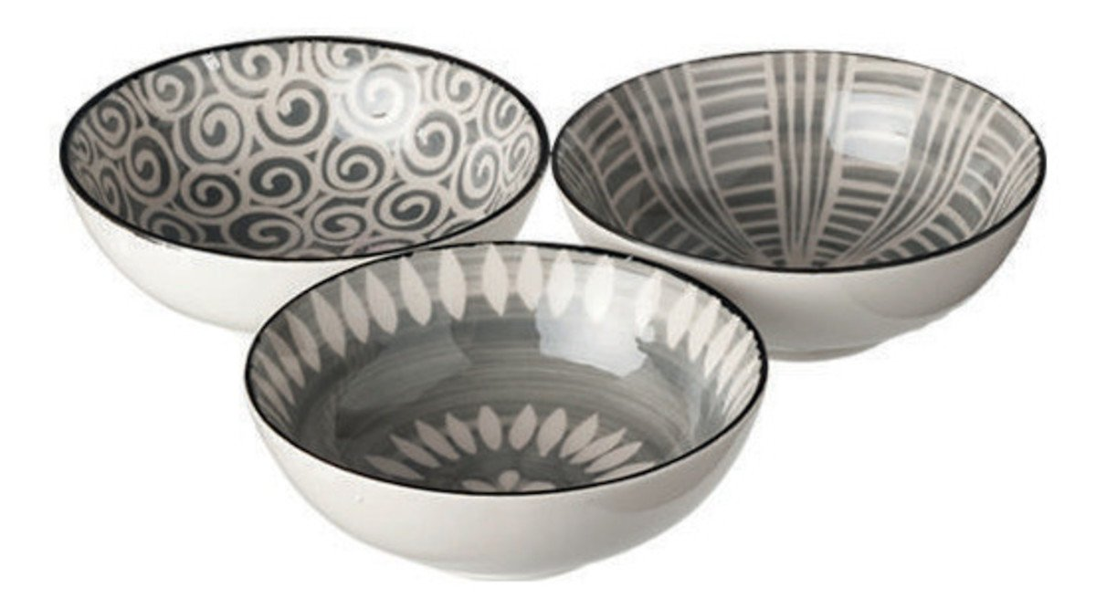 Broste Copenhagen Schale Modern 3er Set Keramik gemustert 13 cm - Pic 1