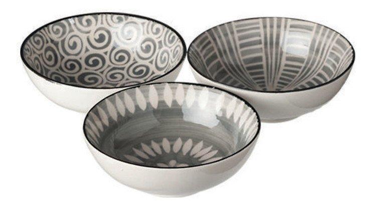 Broste Copenhagen Schale Modern 3er Set Keramik gemustert 13 cm