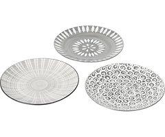 Broste Copenhagen Dessertteller Modern 3er Set Keramik gemustert 22 cm
