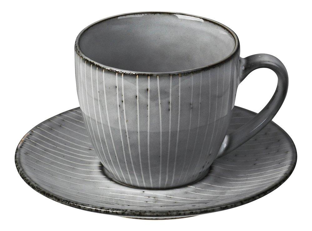 Broste Tasse mit Untertasse Nordic Sea 150 ml Keramik grau - Pic 1