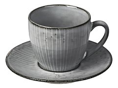 Broste Tasse mit Untertasse Nordic Sea 150 ml Keramik grau