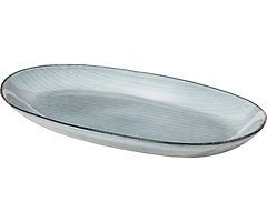 Broste Servierplatte oval Nordic Sea 18 x 30 cm Keramik grau