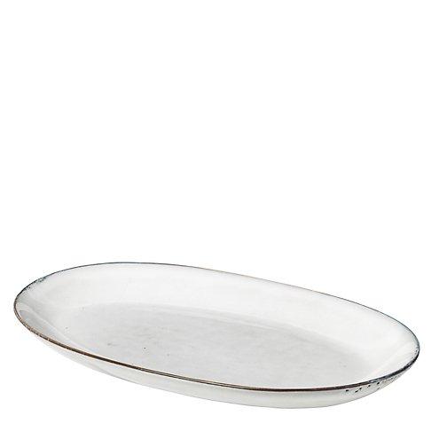 Broste Servierplatte oval Nordic Sand 18 x 30 cm Keramik sand