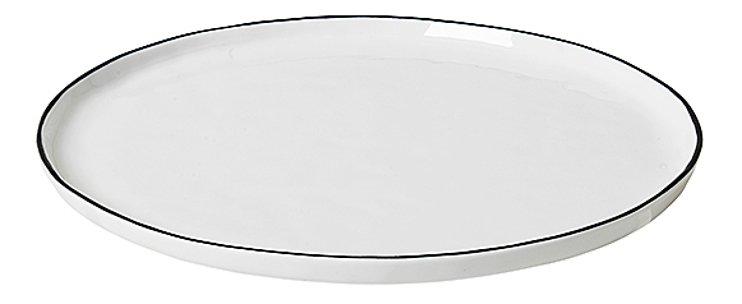 Broste Speiseteller Salt 28 cm Porzellan weiß schwarz