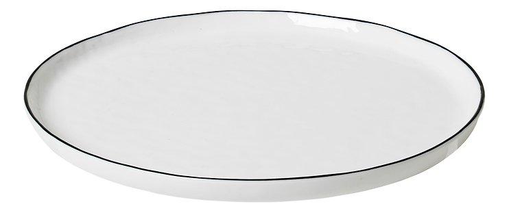Broste Speiseteller Salt 22 cm Porzellan weiß schwarz