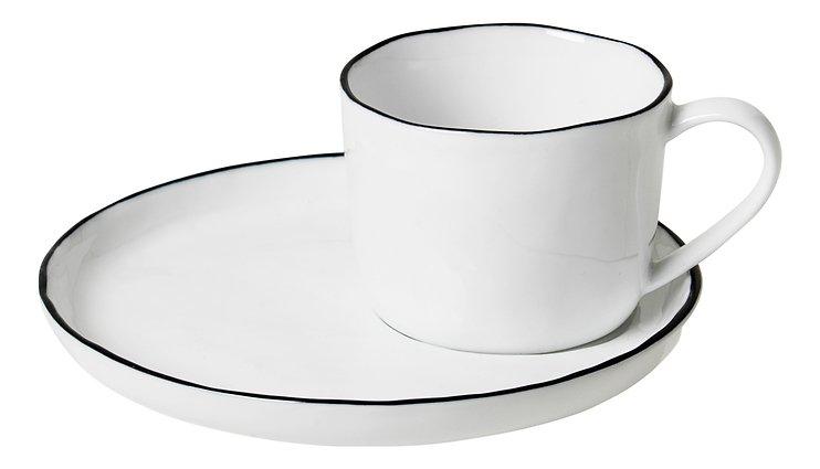 Broste Espressotasse mit Untertasse Salt S 100 ml Porzellan weiß schwarz