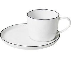 Broste Tasse mit Untertasse Salt L 150 ml Porzellan weiß schwarz