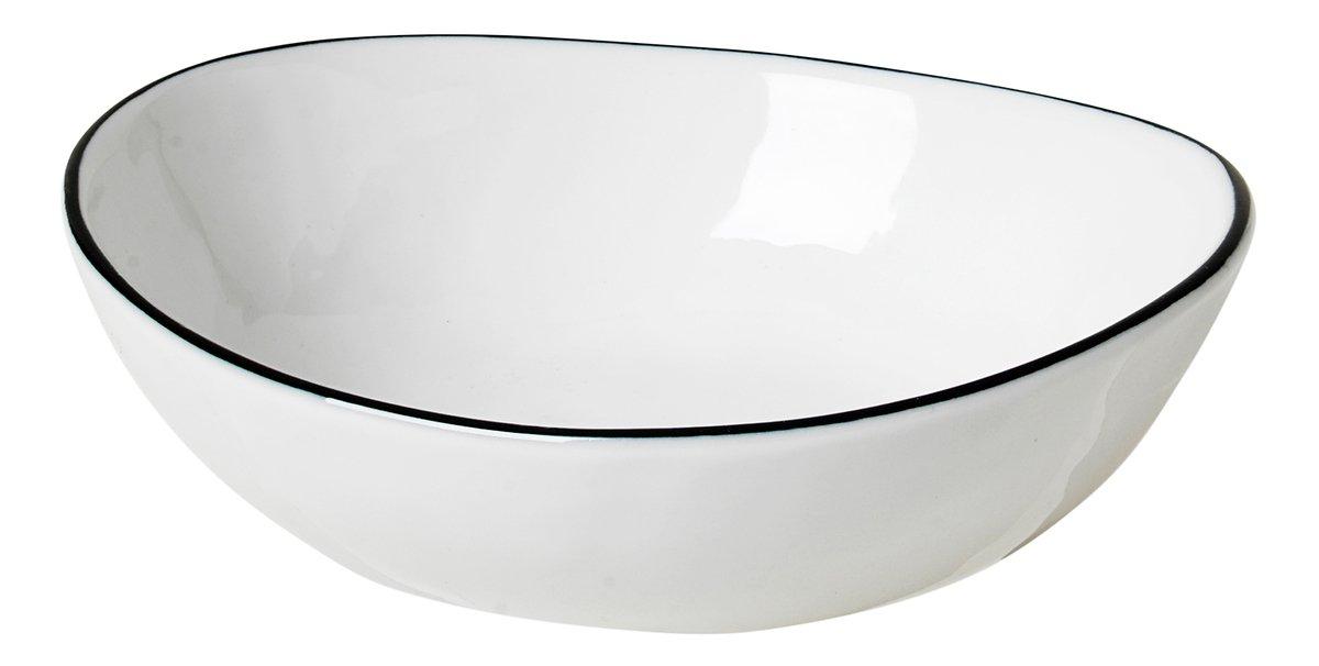 Broste Schüssel Salt oval 14 cm Porzellan weiß schwarz - Pic 1