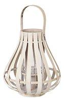 Broste Laterne Sally 30 cm Bambus weiß