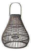 Broste Laterne Twist 38 x 43 cm Bambus Glas dunkelgrau